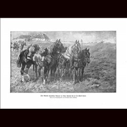 9027	 WWI print	 German Cavalry in Russia horses soldiers by Anton Hoffmann