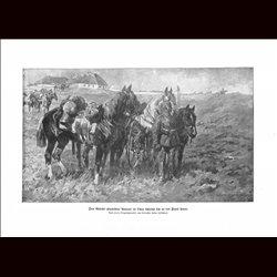 9027 WWI print German Cavalry in Russia horses soldiers by Anton Hoffmann