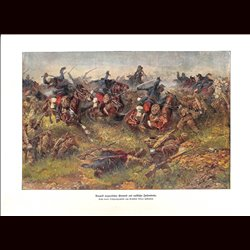 9028 WWI print Hungarian Honved versus Russian soldiers Cavalry Infantry by Anton Hoffmann