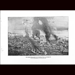 9031 WWI print Dover England German airplanes May 25 1917 city fire harbor by Willy Stöwer