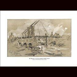 9036 WWI print German soldiers cross river Warneton near Lys