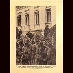 9037	 WWI print	 Friedrich Ebert declares the German Republic in Berlin November 1918 German soldiers