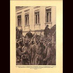 9037 WWI print Friedrich Ebert declares the German Republic in Berlin November 1918 German soldiers