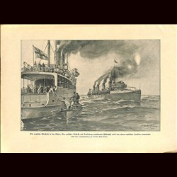 9041 WWI print English ships Trelleborg Sassnitz by Willy Stöwer