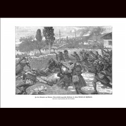 9046	 WWI print	 Valona Hungro-Austrian soldiers Italian soldiers battle by Fritz Neumann