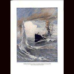 9052 WWI print German Torpedo boat by Gustav Romin size: 23,5 x 32,5 cm / 9.25 x 12.8 inch