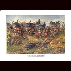 9053 WWI print Hungarian Honved versus Russian soldiers Cavalry Infantry by Anton Hoffmann