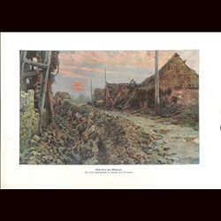 9057	 WWI print	 German soldiers trench village by Hans Schmidt