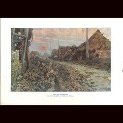 9057 WWI print German soldiers trench village by Hans Schmidt