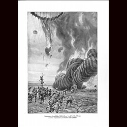 9060	 WWI print	 French balloons shot down by German airplanes by Hans Schmidt