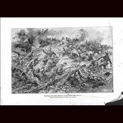 9061	 WWI print	 Monte San Gabriele Hungro-Austrian soldiers against Italian troops