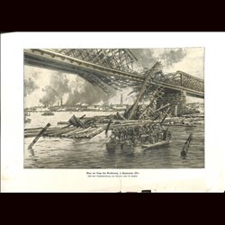 9062	 WWI print	 German soldiers crossing a river September 3 1917 by Hans Schhmidt