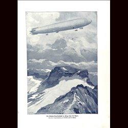 9063 WWI print Zeppelin Schütte-Lanz-Luftschiff Alps
