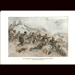 9065	 WWI print	 Guerillas Kaukasus Kurds attack russian transport Kurde by Max Tilke