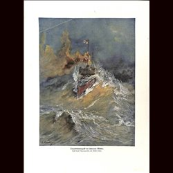 9066	 WWI print	 German Torpedo boat storym weather by Gustav Romin