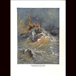 9066 WWI print German Torpedo boat storym weather by Gustav Romin