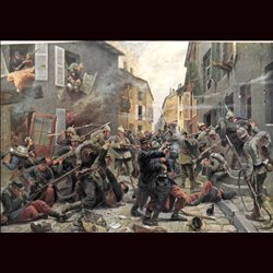 9073 WWI print Montigny France German and French soldiers hand fights