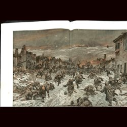 9074	 WWI print	 Douaumont village near Verdun March 2 1916 German troops by Hans Schmidt