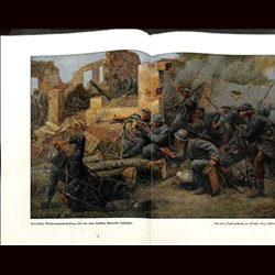9077	 WWI print	 French machine gun position German soldiers by Georg Schöbel