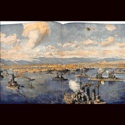9078 WWI print English-French ships Greece Piräus September 1916 Phaleron Athene by Zeno Diemer