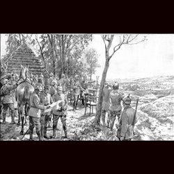 9087 WWI print Kaiser Wilhelm II. Jaroslau German soldiers