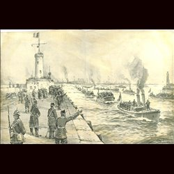 9093	 WWI print	 English ships arrive at North France by Willy Stöwer