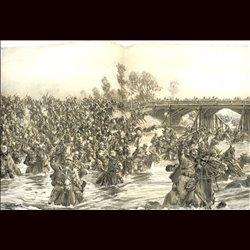 9094 WWI print Hungro-Austrian Hussars Miskolezer  river San by Hans Schmidt