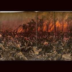 9095 WWI print Yser English soldiers attacked by German troops at night by Hans Schmidt