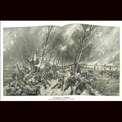9096	 WWI print	 Dixmuiden fire artillery train by Hans Schmidt