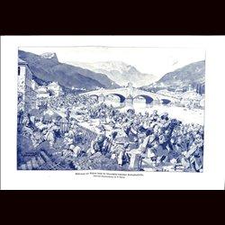 9099 WWI print Valjevo Balkan Hungro-Austrian soldiers