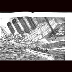 9101 WWI print LUSITANIA steam ship 1915 by Claus Bergen
