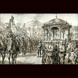 9104 WWI print German troops, sodlier cavalry fortress Namur by Hans Schmidt