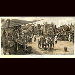 9107	 WWI print	 German soldiers camp