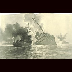 9108	 WWI print	 German ship Königin Luise Themse by Hans Bohrdt