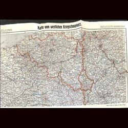 9109 WWI print map 1914/15 Belgium France Netherland Luxemburg Germany