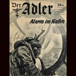 0439	 DER ADLER	missing page -No.	7	-1940	 vintage German Luftwaffe Magazine Air Force WW2 WWII