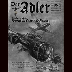 0469	 DER ADLER	 -No.	9	-1940	 vintage German Luftwaffe Magazine Air Force WW2 WWII