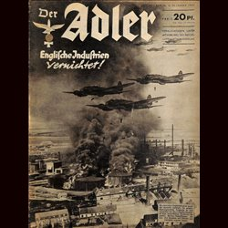 0474	 DER ADLER	 -No.	25	-1940	 vintage German Luftwaffe Magazine Air Force WW2 WWII