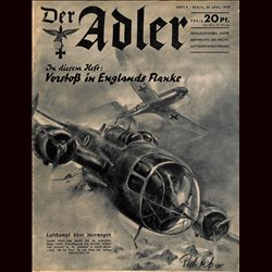 0493	 DER ADLER	 -No.	9	-1940	 vintage German Luftwaffe Magazine Air Force WW2 WWII