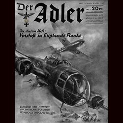 0494	 DER ADLER	 -No.	9	-1940	 vintage German Luftwaffe Magazine Air Force WW2 WWII