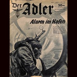0495	 DER ADLER	 -No.	7	-1940	 vintage German Luftwaffe Magazine Air Force WW2 WWII