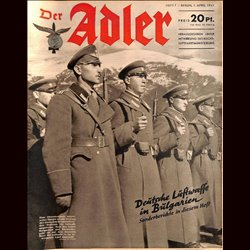 0536	 DER ADLER	 -No.	7	-1941	 vintage German Luftwaffe Magazine Air Force WW2 WWII