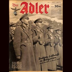 0537	 DER ADLER	 -No.	7	-1941	 vintage German Luftwaffe Magazine Air Force WW2 WWII
