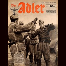 0591	 DER ADLER	 -No.	14	-1942	 vintage German Luftwaffe Magazine Air Force WW2 WWII