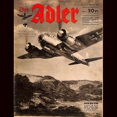 0605 DER ADLER -No.4-1942 vintage German Luftwaffe Magazine Air Force WW2 WWII