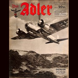 0606	 DER ADLER	 -No.	4	-1942	 vintage German Luftwaffe Magazine Air Force WW2 WWII