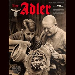 0614	 DER ADLER	 -No.	2	-1942	 vintage German Luftwaffe Magazine Air Force WW2 WWII