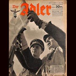 0624 DER ADLER -No.10-1943 vintage German Luftwaffe Magazine Air Force WW2 WWII