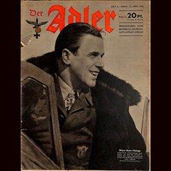 0628 DER ADLER -No.8-1943 vintage German Luftwaffe Magazine Air Force WW2 WWII