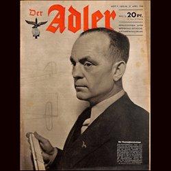 0631 DER ADLER -No.9-1943 vintage German Luftwaffe Magazine Air Force WW2 WWII